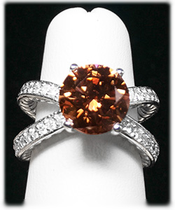 Natural Fancy Cinnamon Brown Color Round Diamond Ring At