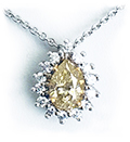Fancy Color Pear Diamond Necklace