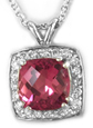 Pink Tourmaline and Diamond-Halo Necklace