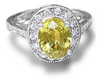 Natural Yellow Sapphire and Diamonds